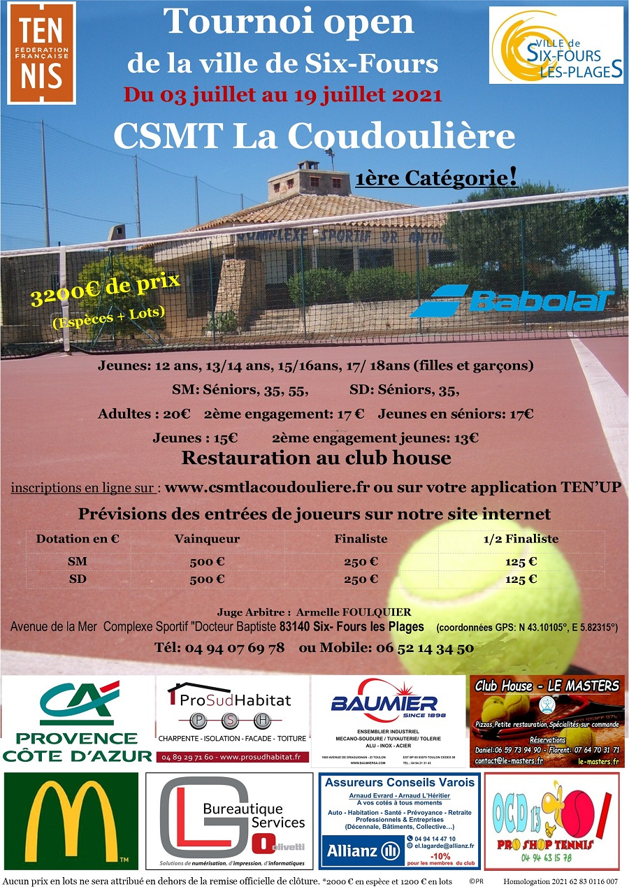 Affiche tournoi open 2021